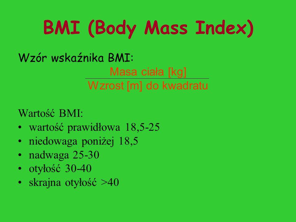 BMI (Body Mass Index) Wzór wskaźnika BMI: Masa ciała [kg]